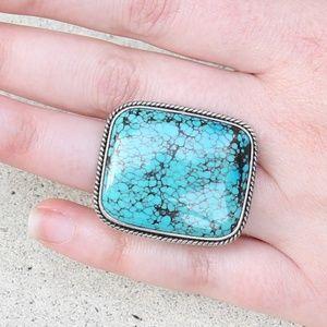 Large Kingman Turquoise cocktail ring size 5